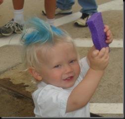 Reed blue hair sponge